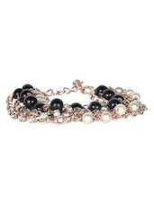 Silver Metallic And Black Beads  Bracelet - By