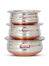 Shubham Copper Bottom Container Urli With Lid - 3 Pcs Set S10-12 -  online shopping for Sauce & Saute Pans