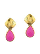 Pink Metal Alloy, Acrylic Drop  Earring - By