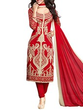 red crepe unstitched suit -  online shopping for Unstitched Suits
