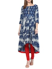 Indigo Hand Block Printed Long Kurta - By