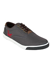 solid grey canvas sneakers -  online shopping for Shoes