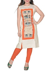Orange Beige Colored, Cotton Printed Kurta - By