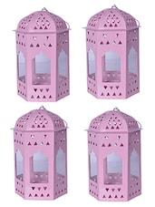 Sutra Decor Pink Metal Lantern Set 4 - By