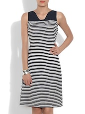 Black And White Striped Poly Crepe Dress - By