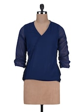 Plain V-Neck Three Quarter Sleeves Polygeorgette Top - By