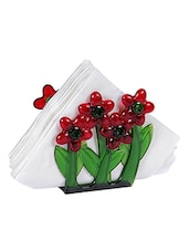 red and green floral glass napkin holder -  online shopping for Napkin Holders
