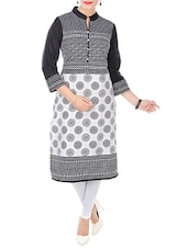 White And Black Cotton Printed Kurta - By
