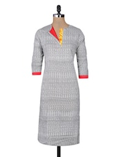 Grey Cotton Printed Three Quarter Sleeved Long Kurta - By