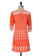 Red Cotton Printed Three Quarter Sleeved Regular Kurta - By