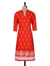 Red Cotton Printed Three Quarter Sleeved Regular Kurta - By - 1127561