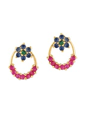 Multicolor Brass Studs Earring - By