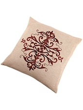 Brown Printed Cotton Set Of 2 Cushion Cover - By