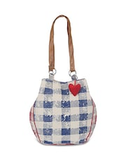 blue and white canvas handbag -  online shopping for handbags