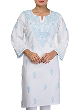 White Cotton Chikankari Kurta - By
