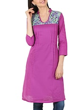 Purple Printed Cotton Kurta - By