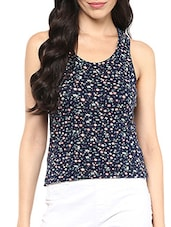 blue floral print viscose racer back top -  online shopping for Tops