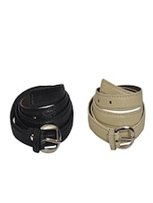 Robb Club Women Black And Cream Artificial Leather Belt - By