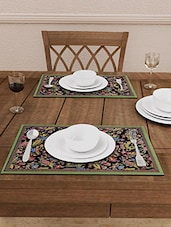 Black Printed Cotton Table Mats (Set Of 6) - By