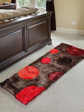 Brown And Red Polka Dot Polyester Floor Runner - By