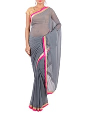 Grey Chiffon Saree With Contrasting Border - By