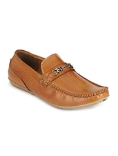 tan faux leather slip on loafers -  online shopping for Loafers