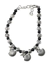 Black Beads Metallic Bracelet - By