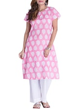 Pink Cotton Natural Block Printed  A-line Kurta - By