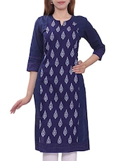 Navy Blue Color, Cotton Regular Printed Kurta - By