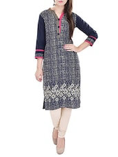 navy blue printed cotton kurta -  online shopping for kurtas
