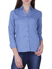 light blue cotton check print regular shirt -  online shopping for Shirts