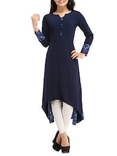 Navy Blue Printed High Low Polyester Kurta - By