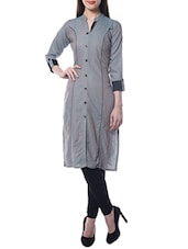 Grey Cotton Printed Kurta - By