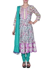 Multicolour Printed Paisley Cotton anarkali Suit Set -  online shopping for Stitched Suits
