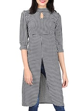 Black & White Stripe Crepe Kurta - By