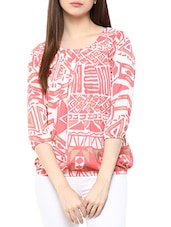 white and peach crepe prined top -  online shopping for Tops