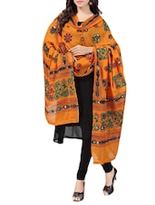 Orange Cotton Embroidery & Mirror Work Dupatta - By