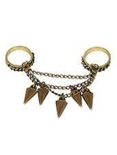 Gold Metallic Spike Double Finger Ring - By