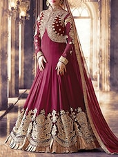 red georgette unstitched suit -  online shopping for Unstitched Suits