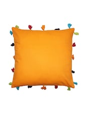 Solid Orange Tassel Embellished Cotton Cushion Cover - By