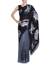 Floral Printed Black And Grey Georgette Saree - By