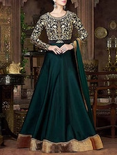green tapeta silk embroidered semi-stitched suit -  online shopping for Semi-Stitched Suits