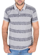 grey printed cotton polo t-shirt -  online shopping for T-Shirts