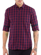 red checkerd cotton casual shirt -  online shopping for casual shirts