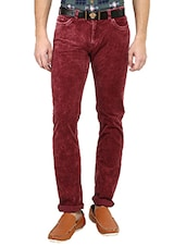 red cotton washed jeans -  online shopping for Jeans