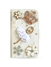 White studded ballerina PU leather iPhone 4 case -  online shopping for Mobile covers