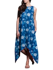 Indigo Floral Print Cotton Asymmetrical Dress - By