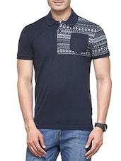 blue cotton pocket tees tshirt -  online shopping for T-Shirts