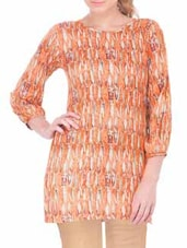 orange printed rayon top -  online shopping for Tops