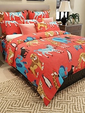 red cotton printed double bedsheet set -  online shopping for bed linen